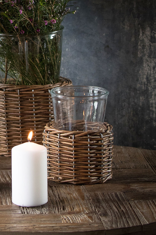 Glass Vase with Wicker Base - Small