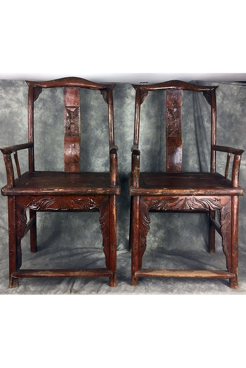 Antique Carved Chinese Wooden Matching Chairs