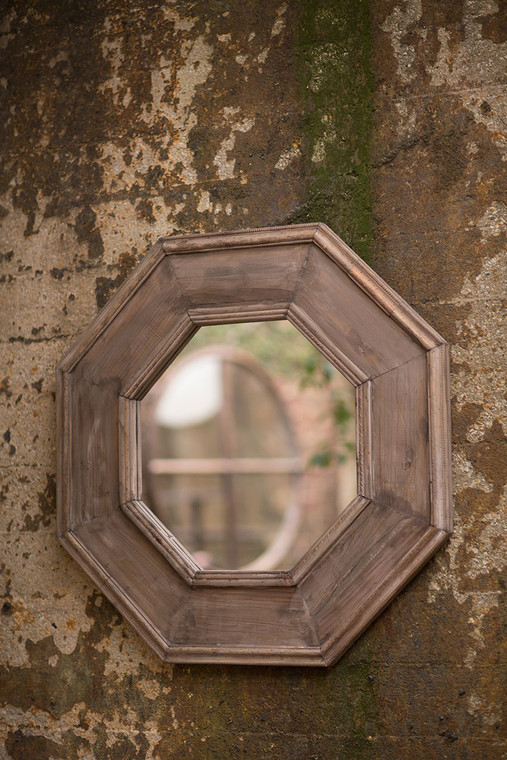 Rustic Recycled Pine Octagonal Mirror