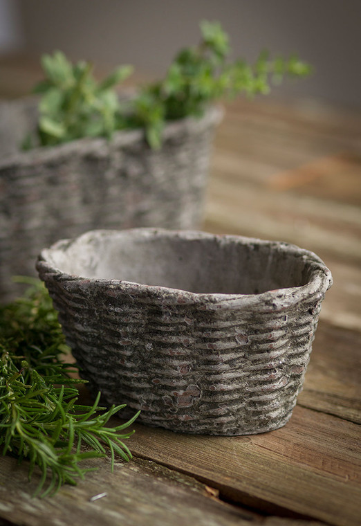 Small Concrete Oval Container with Basket Motif
