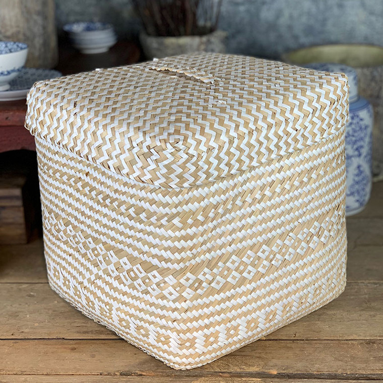 Handwoven Box Storage Basket - White and Natural