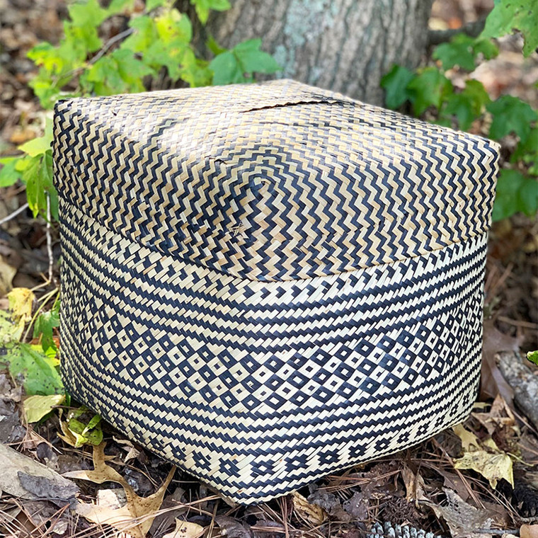 Handwoven Box Storage Basket - Black and Natural