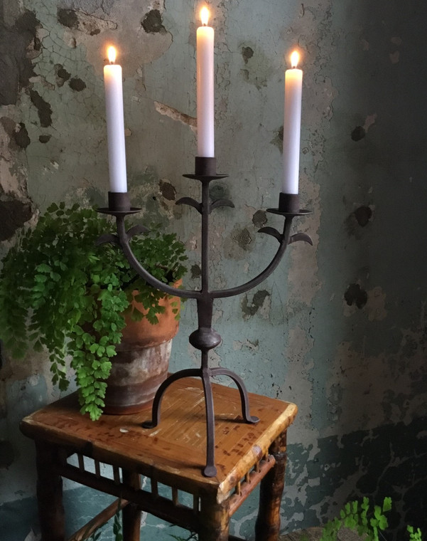 Iron Metal Rusted Candelabra