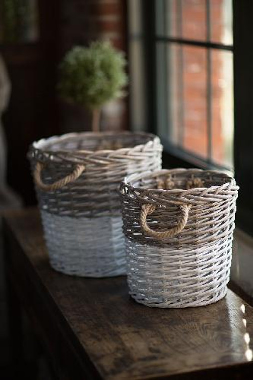 Round Willow Baskets Dipped in White S/2