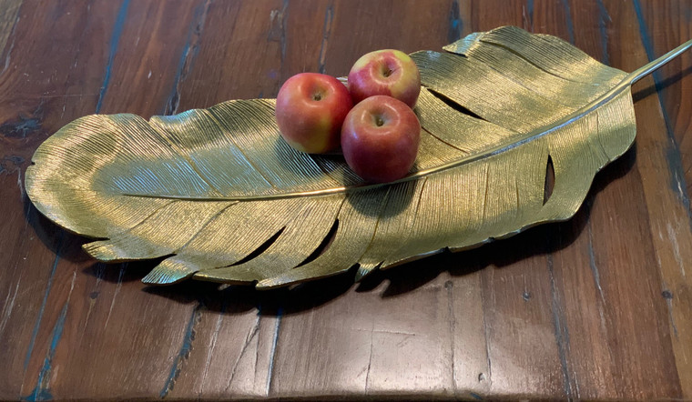 Long Gold Metal Feather Tray