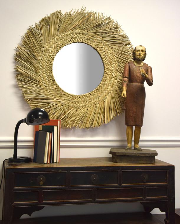 Round Seagrass Mirror