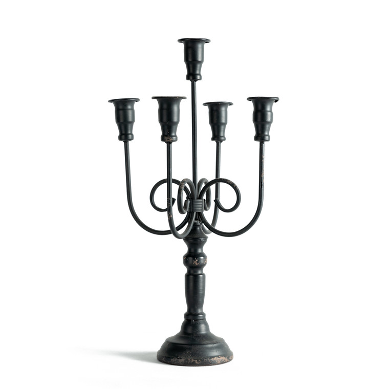 Black Iron Candelabra with Five Heads