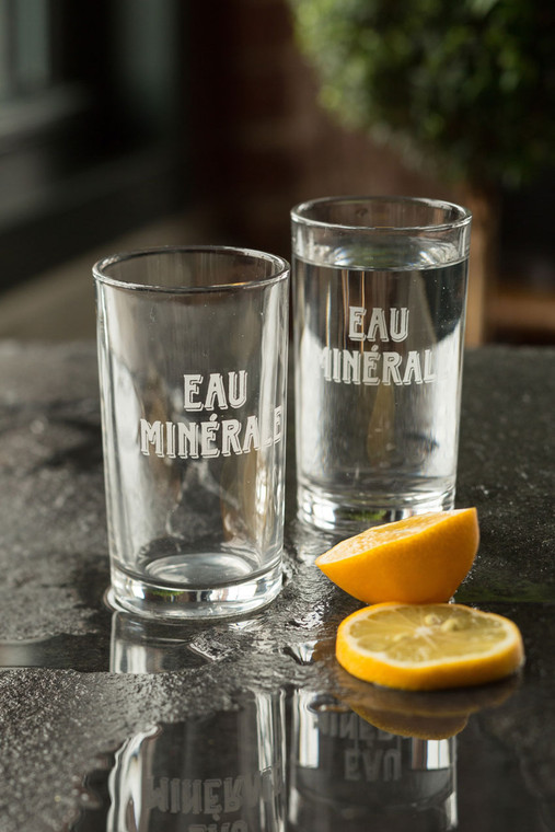 """Eau Minerale"" French Water Glass"