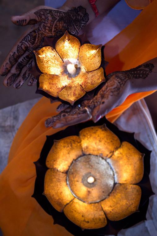 Gold Leafed Metal Lotus Candle Bowl - Large