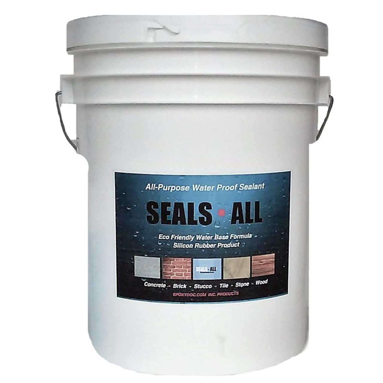 Epoxydoc seals all concrete sealer.  Waterproof concrete, brick, stone, wood, and canvas.