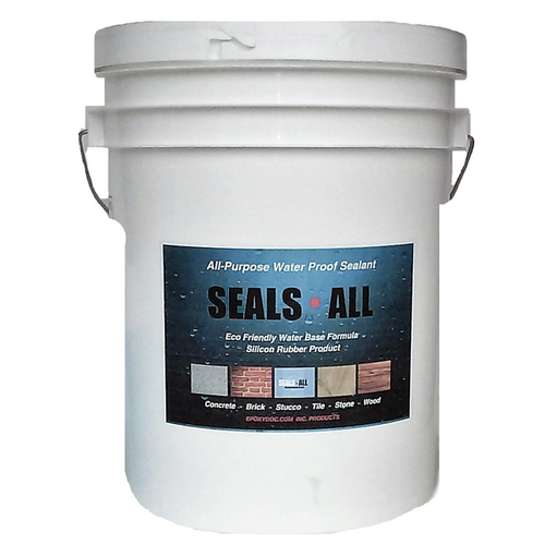 Epoxydoc seals all concrete sealer.  Waterproof concrete, brick, stone, wood, and canvas.