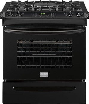 """Frigidaire Gallery 30"""" Slide-in Black Gas Range with True Convection FGGS3065PB"""