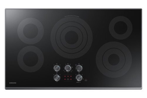 "Samsung 36"" Black Stainless Steel Electric Smoothtop Cooktop with Wi-Fi Connectivity NZ36K6430RG"