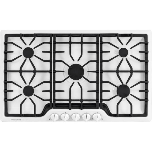 "Frigidaire Gallery 36"" Continuous Cast Iron Grates White Gas Cooktop FGGC3645QW"