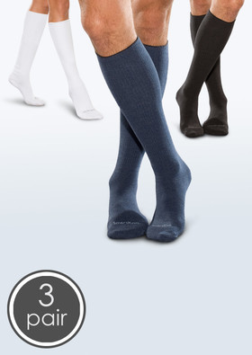 Seamless Diabetic Over-the-Calf Socks - White, Black & Navy 3 Pack