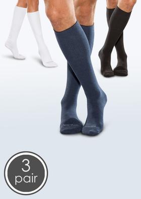 Seamless Diabetic Over-the-Calf Socks - White, Black, and Navy 3 Pack