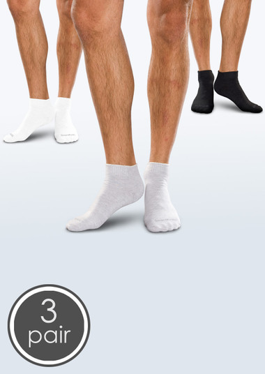 Seamless Diabetic Mini-Crew Socks - Black, White & Grey 3 Pack