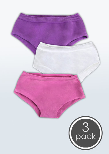 Girls' Seamless Low Rise Boy Cut Style Undies, 3 Pack