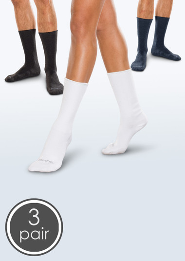 Seamless Diabetic Crew Socks - Black, White & Navy 3 Pack