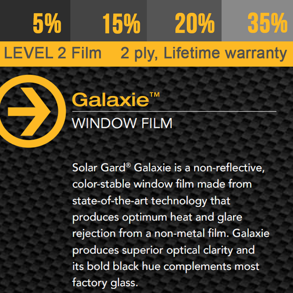 Window Tint Solar Gard Galaxie, Lifetime Warranty