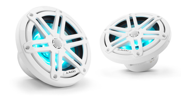 """JL Audio M3-650X-S-Gw-i - M3 6.5"""" Marine Coaxial Speakers  - LED Gloss White Sport Grilles"""