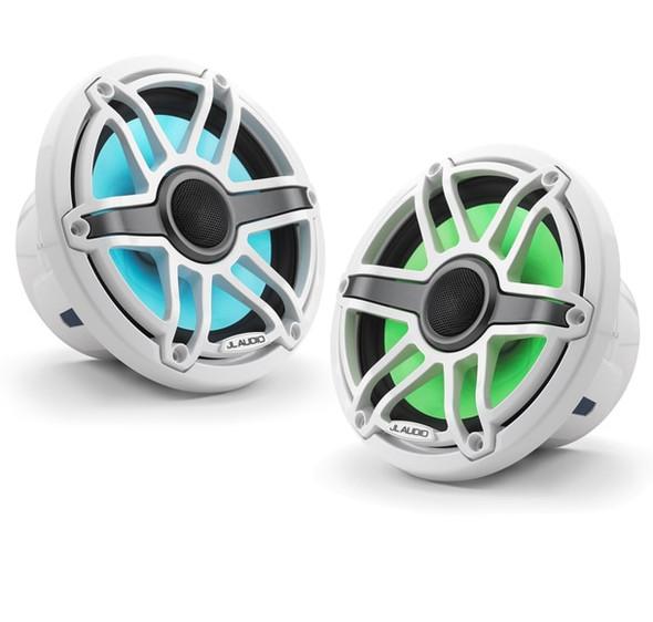 JL Audio 7.7-Inch M6 Marine Coaxial Speaker System, RGB LED, Gloss White, Sport Grille, M6-770X-S-GwGw-i