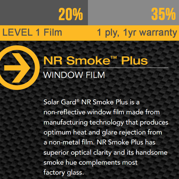 Window Tint Solar Gard NR Smoke Film with 1yr Warranty