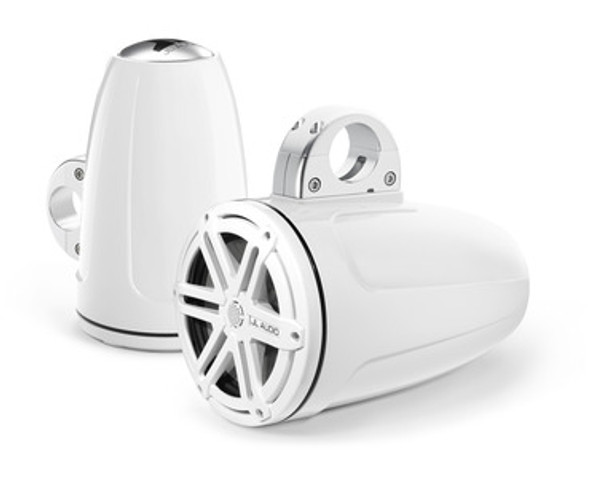 JL Audio MX770-ETXv3-SG-WH: 7.7-inch (196 mm) Enclosed Tower Coaxial System, White Gel-Coat, White Sport Grilles