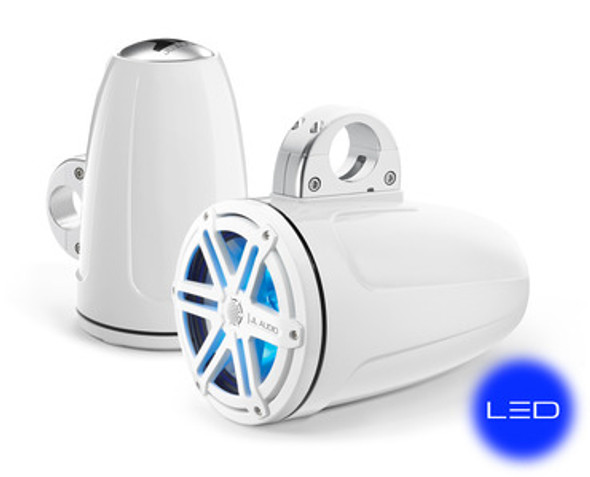 JL Audio MX770-ETXv3-SG-WLD-B: 7.7-inch (196 mm) Enclosed Tower Coaxial System, White Gel-Coat, White Sport Grilles with Blue LED