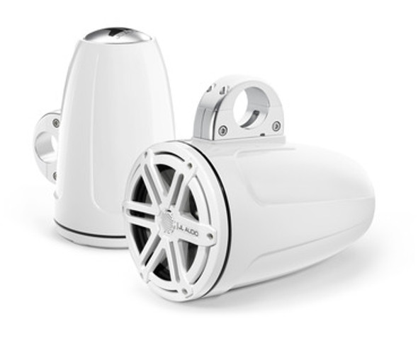 Jl Audio M770-ETXv3-SG-WH: 7.7-inch (196 mm) Enclosed Tower Coaxial System, White Gel-Coat, White Sport Grilles