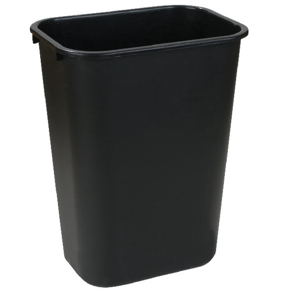 Carlisle Rectangle Office Wastebasket Trash Can 28 QT, Black