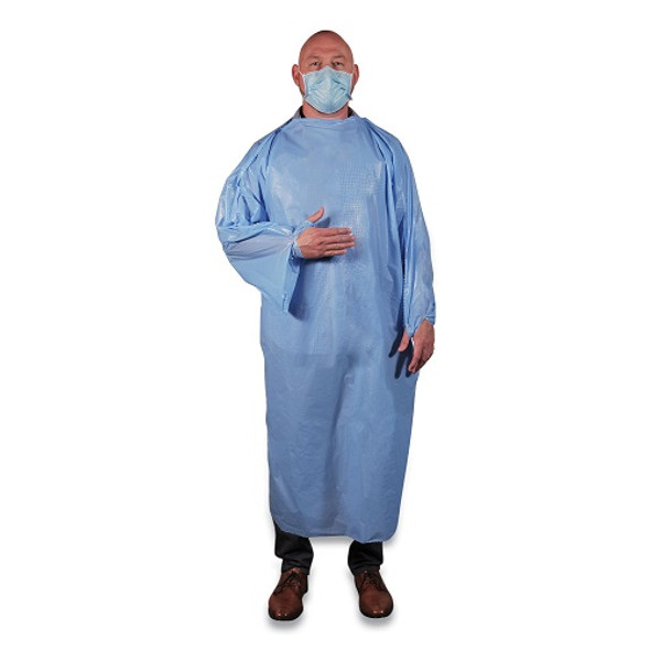 Heritage 68 x 50 T-Style Isolation Gown, Light Blue