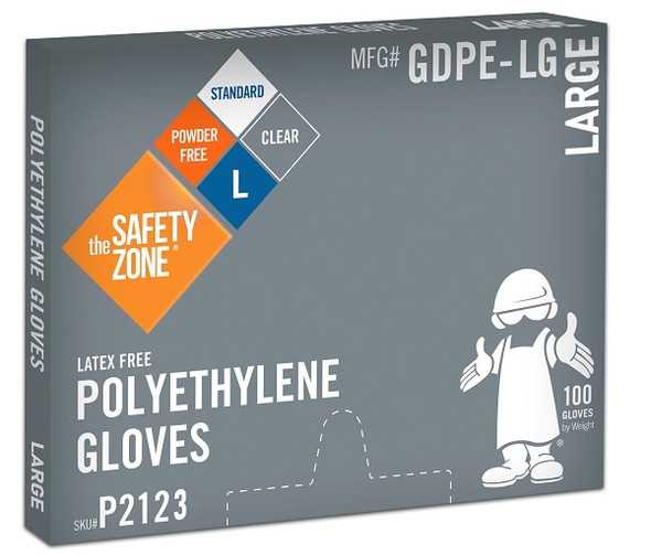 The Safety Zone 1 mil Polyethylene Gloves, Powder Free, Clear, Large