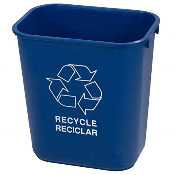 Carlisle Rectangle Recycle Office Wastebasket 28 QT, Blue