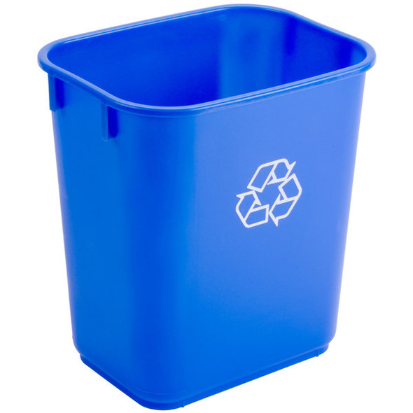 Continental Rectangle Recycling Wastebasket Small 13 Quart, Blue