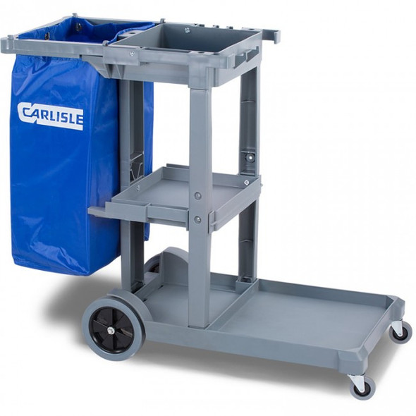 Carlisle Long Platform Janitorial Cart, Gray