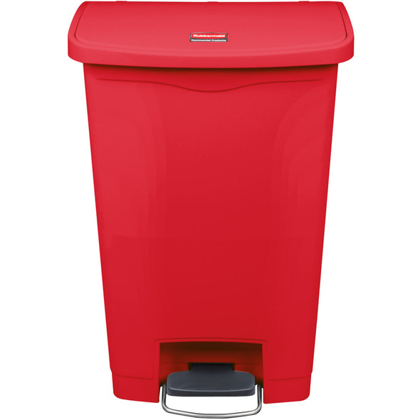 Rubbermaid Slim Jim 13 Gallon Step on Resin Front Step, Red