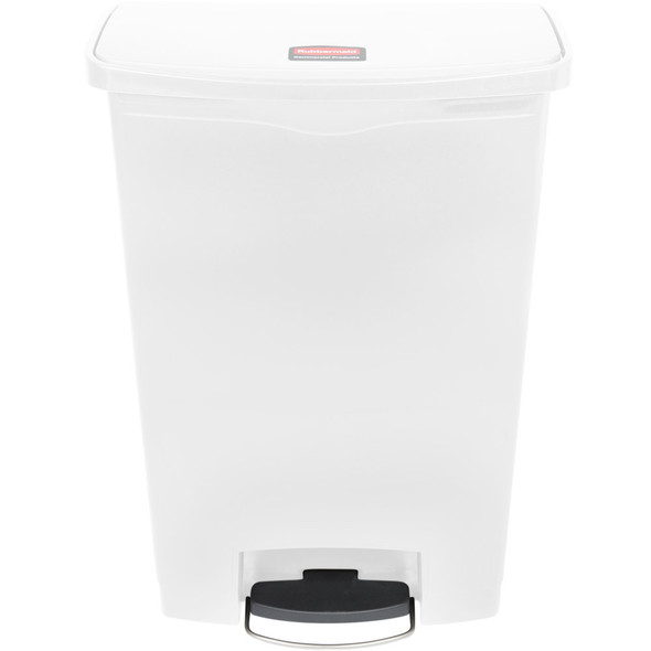 Rubbermaid Slim Jim 24 Gallon Step On Resin Front Step, White