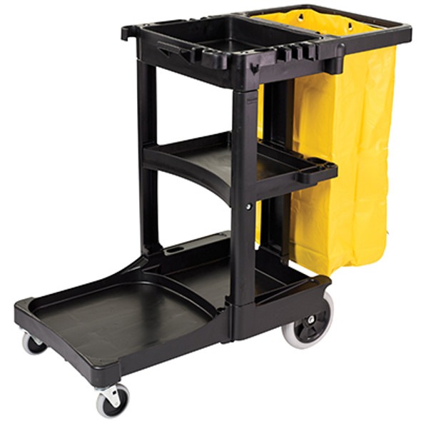 Rubbermaid Traditional Janitorial Cart with Zippered Yellow Bag, Black