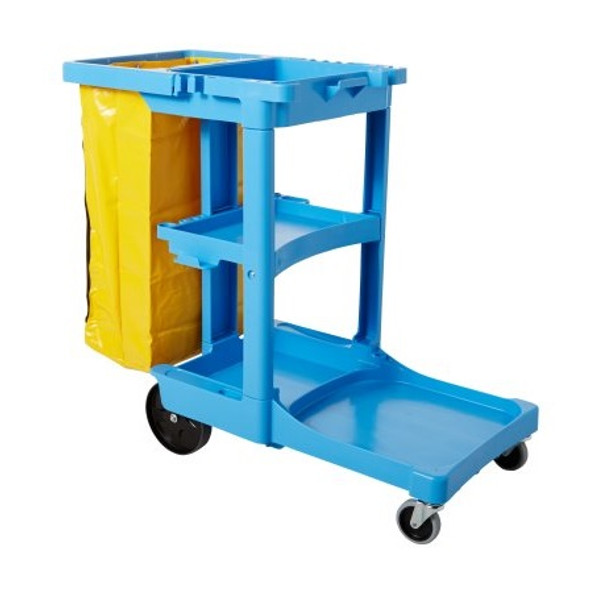 Rubbermaid Traditional Janitorial Cleaning Cart with Zippered Yellow Bag, Blue