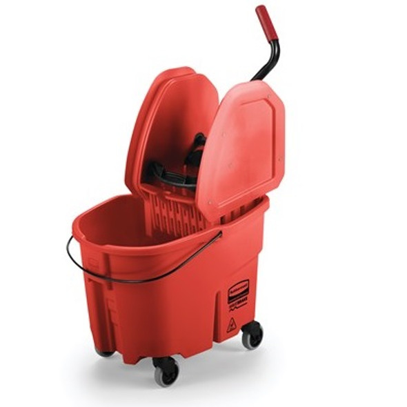 Rubbermaid WaveBrake 35 Qt Down Press Bucket and Wringer Combo, Red