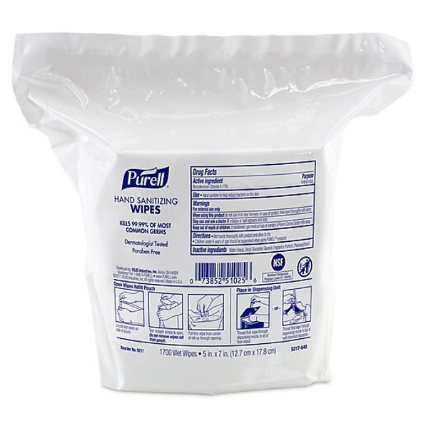 PURELL Hand Sanitizing Wipes, 1700 Count Refill
