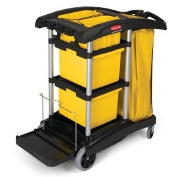Rubbermaid High Capacity Janitorial Cleaning Cart with Bins, Black