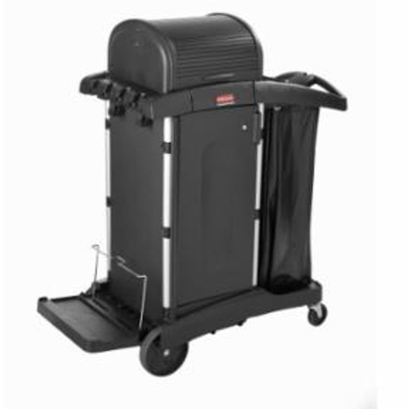 Rubbermaid Executive High Security Cleaning Cart with Doors and Hood, Black