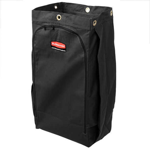 Rubbermaid 30 Gallon Vinyl-Lined Canvas Bag for High Capacity Janitorial Cleaning Carts, Black