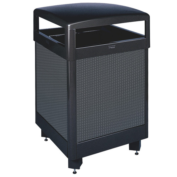 FGR36HT500PL Dimension 500 Series Hinged-Top Black with Anthracite Perforated Steel Panels Square Steel Waste Receptacle with Rigid Plastic Liner 29 Gallon