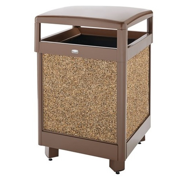 FGR38HT201PL Aspen Hinged-Top Brown with Desert Brown Stone Panels Square Steel Waste Receptacle with Rigid Plastic Liner 38 Gallon