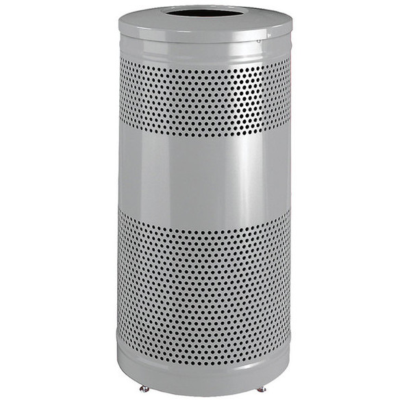 FGS3ET Classics Silver Metallic Round Steel Drop Top Waste Receptacle with Levelers and Rigid Plastic Liner 25 Gallon