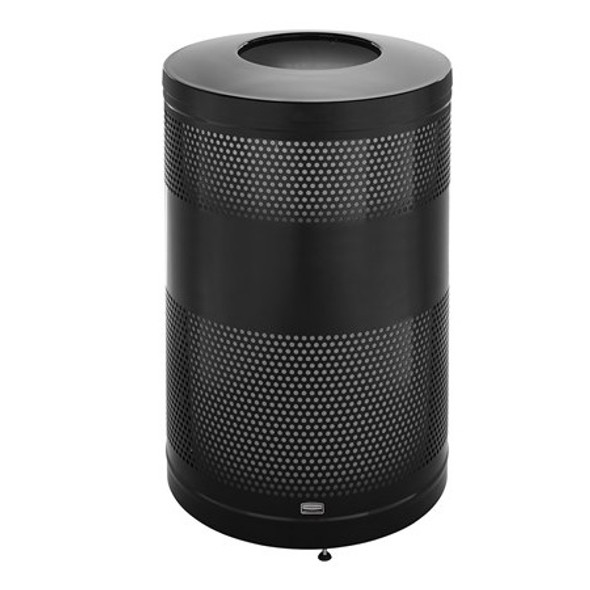 FGS55ET Classics Black Round Steel Drop Top Waste Receptacle with Levelers and Rigid Plastic Liner 51 Gallon