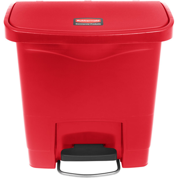 Rubbermaid Slim Jim 4 Gallon Step On Resin Front Step, Red